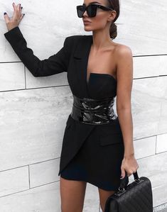 Winter Dress Women Fashion Sexy Black BCotton Dress One Single Long Sleeve Elegant Celebrity Mini Party Dress with Belt-in Dresses from Women's Clothing on AliExpress - Day Beauty And Fashion, Latest Fashion For Women, Look Fashion, Womens Fashion, Prom Dresses Long With Sleeves, Sexy Dresses, Fashion Dresses, Elegant Black Dresses, Fashion Clothes