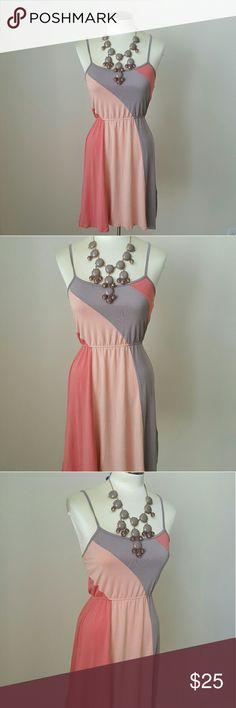 NWOT Gray/Blush Cocktail dress NWOT Gray/Blush Cocktail dress. Super soft! Adjustable straps. 95% rayon 5% spandex. Perfect for cocktails with your gfs! Message me with any questions xo Forever 21 Dresses