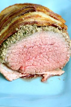 Prime rib is tender, succulent and undeniably delicious, but the price is more than most of us can spend on Sunday Supper. One good substitute which is the often overlooked is the eye of round roast. Eye of round is best when cooked to medium-rare and sliced thin against the grain. This perfectly tender eye of round roast takes just over 30-minutes in the oven for a perfect medium-rare. Perfect for Sunday supper or even a holiday dinner.