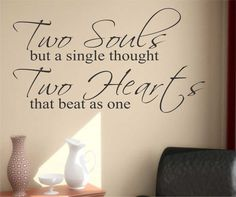 Romantic Wedding Vinyl Wall Lettering Two Souls Two Hearts Love Quotes