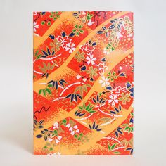 Japanese Yuzen Washi Card Holder - Cherry Blossom & Weight Chain Orange Japanese Minimalism, Oyster Card, Travel Cards, Japanese Patterns, Unique Cards, Printed Bags, Origami Paper, Japanese Culture, Card Holders