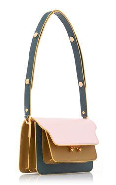 Trunk Small Color-Block Leather Shoulder Bag by Marni Fendi, Gucci, Burberry, Fashion Handbags, Fashion Bags, Ankara Bags, Unique Handbags, Small Leather Bag, Vintage Purses