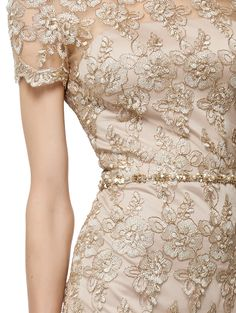 """David Meister Short Sleeve Lace Cocktail Dress"""