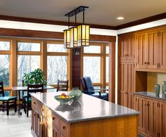 Arts and Crafts Kitchen - traditional - Kitchen - Boston - Woodbourne Builders Inc Real Kitchen, Kitchen Art, Kitchen Decor, Kitchen Ideas, Kitchen Layouts, Kitchen Designs, Mustard Walls, Kitchen Eating Areas, Mission Style Furniture