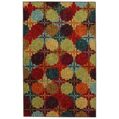 Mohawk Home�Digital Quilt Rectangular Red Geometric Area Rug (Common: 5-ft x 8-ft; Actual: 5-ft x 8-ft)
