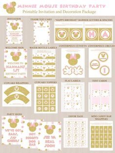 Gold Glitter and Pink Minnie Mouse Birthday Party von Honeyprint