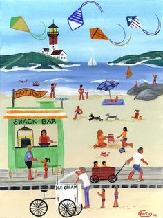 Cheryl Bartley - BEACH DAY KITES FOLK ART PRINT