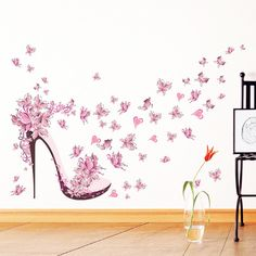 Pink Romantic Butterfly High Heels Wall Stickers for Kids Room Wall Decor Bedroom Living Room Children Room Decal Poster Mural G – Home & Garden Girls Wall Stickers, Removable Wall Stickers, Butterfly Wall Stickers, Wall Stickers Murals, Wall Decals, Wall Mural, Kids Room Wall Art, Room Wall Decor, Bedroom Decor