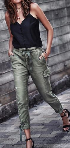Love the Utility pants style and simple elegance of the top, combo of styles is great