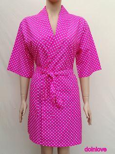 Women's fuchsia colour soft natural cotton kimono robe