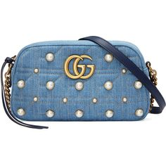 Gucci GG Marmont denim small shoulder bag (40.295 ARS) ❤ liked on Polyvore featuring bags, handbags, shoulder bags, blue, studded handbags, gucci purse, chain shoulder bag, shoulder hand bags and blue handbags