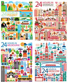 24 Hours in Phuket, Shanghai, Melbourne & Moscow, by Fernando Volken Togni, via designworklife Building Illustration, Graphic Design Illustration, Illustration Art, Decoupage, Fashion Bubbles, Love Stamps, Illustrations, Graphic Design Inspiration, Travel Posters