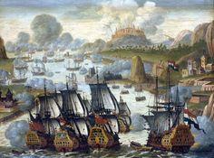 Sea Battle of Vigo bay. Anonyme. Rijksmuseum, Amsterdam. La bataille navale de la baie de Vigo, parfois appelée bataille de Rande, eut lieu en octobre 1702 dans la baie de Vigo, au large des côtes de la Galice en Espagne. Elle mit aux prises une flotte anglo-hollandaise avec un convoi franco-espagnol. La bataille de Vigo coute 18 vaisseaux à la France et 11 à l'Espagne. Au premier plan, les vaisseaux anglais et hollandais.