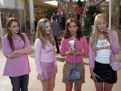 "Lindsay Lohan, Amanda Seyfried, Lacey Chabert and Rachel McAdams appear in the 2004 film, ""Mean Girls. Mean Girls Halloween Costumes, Mean Girls Costume, Hallowen Costume, Pop Culture Halloween Costume, Halloween Outfits, Girl Costumes, Costumes For Women, Mean Girls Outfits, Costume Ideas"
