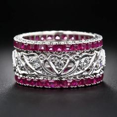 Adolfo Courrier Classic Bon-Bon 18 Karat Rose Gold, Enamel, Pink Sapphire, & Diamond Stack Ring Set - Sök på Google