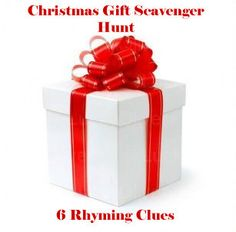 christmas gift scavenger hunt with rhyming clues