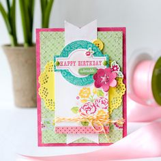 Happy Birthday card **Echo Park** - A pretty yellow doily is the perfect backdrop for a girly birthday card.