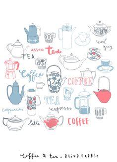Coffee and tea fabric by Charlotte Farmer