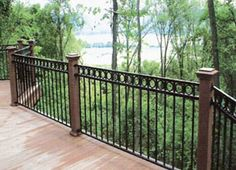 Lovable Black Wrought Iron Pool Fence and black iron fence hardware Wrought Iron Stair Railing, Wrought Iron Fences, Metal Fences, Balcony Railing, Deck Railings, Iron Railings, Garden Railings, Balcony Grill, Iron Balcony