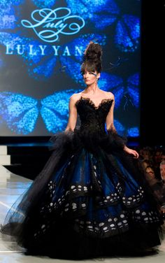 'Blue Morpho Monarch' from the Luly Yang Couture's 10th Year Anniversary Couture Runway Show - A Monarch's Tale: The Journey of a Decade