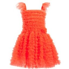 This beautiful ruffle, neon orange prom dress from English company Angel's Face with a stretchy bodice and straps. The dress is covered all over with ruffles and has a double layered skirt adding to the fullness creating shape. It is perfect for all occasions, from birthday parties and proms to dressing up on a rainy day. It comes presentedin a branded vintage style box making a great gift.