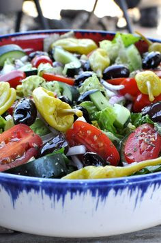 Greek Salad; we love to add fresh herbs, especially dill and coriander...... #yogacentric