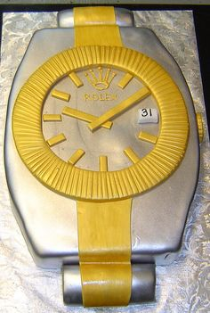 Giant gold and silver Rolex watch custom men's birthday cake
