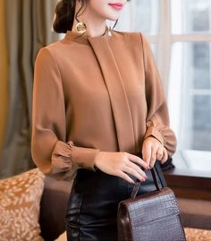 New camel long buttoned sleeve women chiffon blouse top shirt casual office work - Outfits Women Casual Work Outfits, Mode Outfits, Fashion Outfits, Office Outfits, Skirt Outfits, Office Attire, Fashion Fashion, Fashion Shoes, Office Fashion