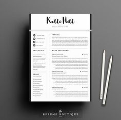 Resume Template 5 page pack | Jolie by The.Resume.Boutique on @creativemarket Professional printable resume / cv cover letter template examples creative design and great covers, perfect in modern and stylish corporate business design. Modern, simple, clean, minimal and feminine style. Ready to print us letter and a4 layout inspiration to grab some ideas. In psd, indd, docs, ms word file format.