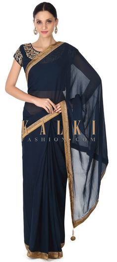 Buy this Navy blue saree matched with embroidery blouse only on Kalki