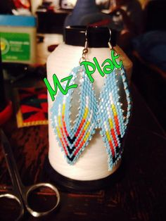 Peyote stitch. Russian leaf earrings