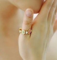 cute flower band ring