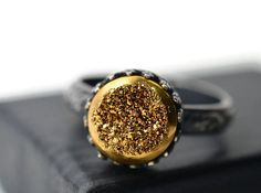 Gold Druzy Ring Oxidized Silver Ring Glittering by fifthheaven