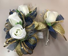 Navy Gold Corsage and Boutonniere Set (artificial)