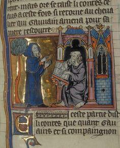 Merlin recounts stories to Blaise Paris, BNF fr. 95,