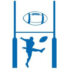 Kit de stickers rugby comprenant le but, le joueur, le petit ballon et le grand ballon. Créez des décorations fascinante dans la chambre des enfants avec les adhésifs Décorécébo