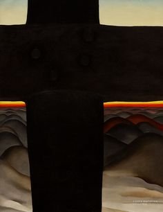 Georgia O'Keeffe - Black Cross. The pioneers of American abstraction responded to modern Euro movements in individual ways. O'Keeffe approached her subjects, by intuitively magnifying their shapes and simplifying their details to underscore their essential beauty. Black Cross, New Mexico was painted during a summer visit to that state, where she eventually settled. The large, dark cross seems to stand watch over the rolling hills at sunset, proclaiming man's presence in this stark landscape.