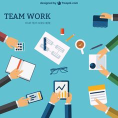 Team Work Template Free Vector