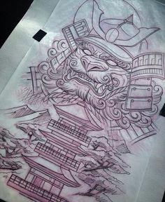 Japanese Temple Tattoo, Japanese Dragon Tattoos, Japanese Tattoo Art, Japanese Tattoo Designs, Japanese Sleeve Tattoos, Hannya Maske, Color Concept, Foo Dog Tattoo, Tiki Tattoo