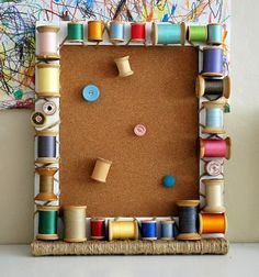 thread by aukling... Using cotton reels to make a pin board or picture frame. Great for a sewing room!! B.