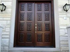 Exotic Dark Brown Varnished Oak Wood Double Front Doors Design Be Equipped Sixteen Hand Carved Panels Plus Satin Nickel Pull Handle. Harmonious Solid Wood Front Doors Design For Homes Wooden Double Doors, Double Front Entry Doors, Double Doors Exterior, Wood Entry Doors, Wooden Front Doors, Barn Doors, Entrance Doors, Door Entry, Entrance Ideas