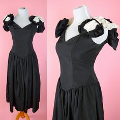 Vintage 80s Prom Black & White Flower Roses // 1980s Party Dress Retro Costume Women Size Small Medium by RIPandROSE on Etsy