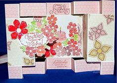 A DOUBLE DISPLAY CARD  Oh my gosh this Birthday card is just gorgeous and even more so up close. Amanda Hindle spent quite a bit of time making this double display card for me. I just had to show it to you! The detail is amazing!