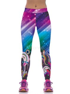 924370af16f RedBeana Women Galaxy Ground with Seaweed Print Workout Yoga Leggings Multi  Color - sites rugs