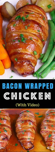 Sugar Bacon Wrapped Chicken Breasts: a simple recipe that everyone will love. Chicken is rubbed with brown sugar and seasonings, wrapped in bacon and baked to golden crispy perfection! So juicy and flavorful. Quick and Easy Dinner. Baked Bacon Wrapped Chicken, Chicken Breast With Bacon, Chicken Breasts, Brown Sugar Chicken, Brown Sugar Bacon, Bacon Recipes, Easy Chicken Recipes, Cooking Recipes, Simple Recipes