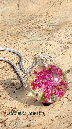 Natuurlijke sieraden fluitekruid gedroogde bloem in bolvorm