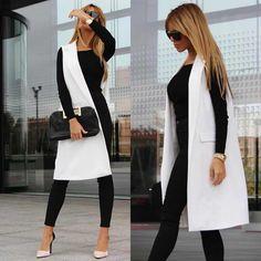 Outfits Blanco y Negro que te Encantarán - Outfits White Outfit Casual, Blazer Outfits Casual, 30 Outfits, Vest Outfits, Office Outfits, Fashion Outfits, Formal Outfits, Trajes Business Casual, Business Casual Outfits