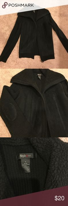 Black sweater jacket with faux suede details Sweater zip up jacket with faux suede front and elbow patches. Style & Co Jackets & Coats
