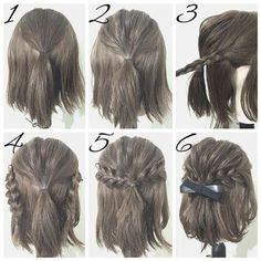 Half Up Hairstyles For Brief Hair # Hair # Coiffure # Coiffure Haircourt # Coiffure Hairlong Half Up Half Down Short Hair, Half Up Half Down Hair Tutorial, Simple Prom Hair, Easy Simple Hair Styles, Easy Hairstyles For Long Hair, Amazing Hairstyles, Wedding Hairstyles, Hairstyles For Short Hair Easy, Easy Hairstyles For Short Hair