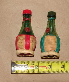 Glass Wicker Chianti Wine Bottles Salt Pepper Shakers | eBay